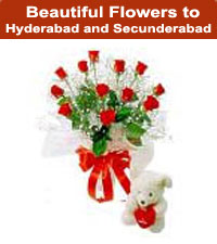 Flowers to Hyderabad India with Teddy Bear